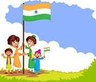 Indian kid hoisting flag of India Stock Photos