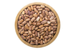 Indian kidney beans in wooden bowl isolated top view on white Stock Image
