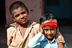 Indian kids. Poor indian kids standing at hindu temple at hoshiarpur, punjab india stock photography