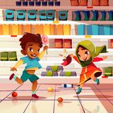 Indian kids playing in supermarket cartoon vector royalty free illustration