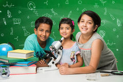 Indian kids and science Royalty Free Stock Photo