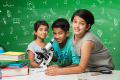 Indian kids and science Royalty Free Stock Image