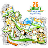 Indian kids waving tricolor flag celebrating Republic Day of India Stock Photos