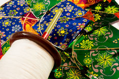Indian kites and spool for kite fighting Royalty Free Stock Photography