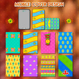 Indian kitsch style mobile cover template Stock Image