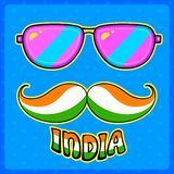 Indian kitsch style mustache and glasses Stock Photo
