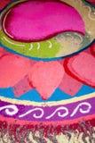 Indian kolam. Colorful Indian kolam during Deepavali Royalty Free Stock Photography