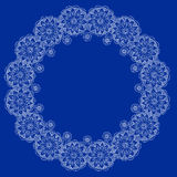 Indian lace. Lovely laced border in indian style on blue background Stock Image