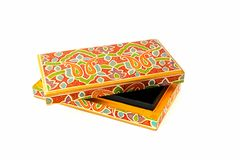 Indian lacquered rectangular box for jewel Royalty Free Stock Photo
