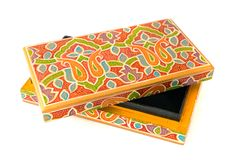 Indian lacquered rectangular box for jewel Royalty Free Stock Photography