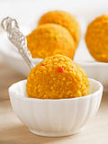 Indian laddoo sweets. Close up of indian laddoo sweets royalty free stock images
