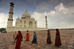 Indian ladies in Taj Mahal Royalty Free Stock Images