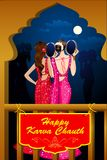 Indian Lady celebrating Karwa Chauth Royalty Free Stock Image