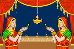 Indian lady with diwali diya Stock Image