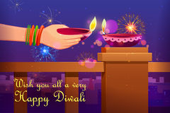 Indian lady with Diwali diya Royalty Free Stock Photos