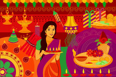 Indian lady with diya Happy Diwali festival background kitsch art India. Vector illustration of Indian lady with diya Happy Diwali festival background kitsch art Royalty Free Stock Images