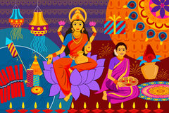 Indian lady with diya Happy Diwali festival background kitsch art India. Vector illustration of Indian lady with diya Happy Diwali festival background kitsch art Royalty Free Stock Photography