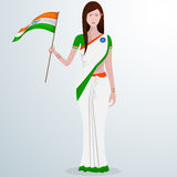 Indian lady with flag for Republic Day celebration. Royalty Free Stock Photos