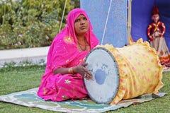 Indian lady folk singer drummertablas royalty free stock image