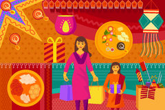 Indian lady with gift Happy Diwali festival background kitsch art India. Vector illustration of Indian lady with gift for  Happy Diwali festival background Royalty Free Stock Photos