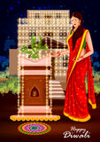 Indian lady for Happy Diwali holiday India background Royalty Free Stock Image