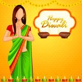 Indian lady wishing Happy Diwali Royalty Free Stock Photo