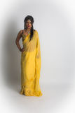 Indian lady in yellow sari. India woman young attractive in cultural dress, yellow sari, long hair, jewellery, necklace stock image