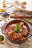 Indian lamb rogan josh served on pot with seasoning Stock Images