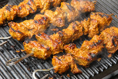 Indian Lamb Tikka Kebabs Cooking Stock Images