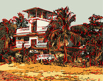Indian landscape digital graphic artwork in Goa, Baga Stock Photography
