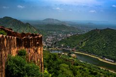 Walls and Hills in Rajasthan. stock photo