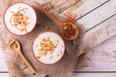 Indian lassi curd with cardamon, mint, vanilla and saffron Stock Image