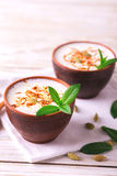 Indian lassi curd with cardamon, mint, vanilla and saffron Stock Photography