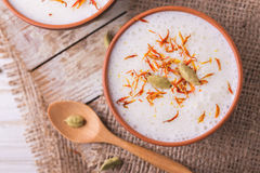 Indian lassi curd with cardamon, mint, vanilla and saffron Royalty Free Stock Image