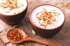 Indian lassi curd with cardamon, mint, vanilla and saffron Royalty Free Stock Photography
