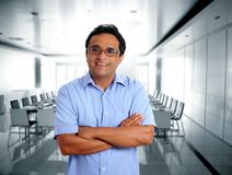 Indian latin businessman glasses in office Stock Photos