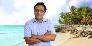 Indian latin tourist man tropical caribbean beach Royalty Free Stock Image