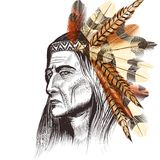 Indian leader in feathers Stock Images