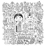 Indian lifestyle. Coloring page for your design stock photos