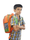 Indian little boy with back bag Stock Photo