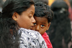 Indian little boy with his mother Royalty Free Stock Images