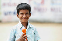 Indian Little Boy with Ice Cream Stock Image