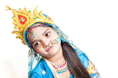 Indian little girl with flute Stock Photos