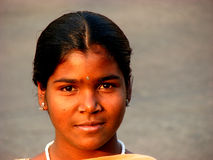 Indian Look. A poor Indian girl looks at the lens Royalty Free Stock Photos