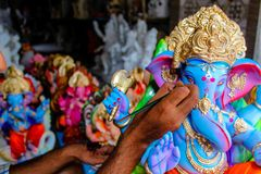 Indian Lord Ganesh Sculpting Statue royalty free stock images