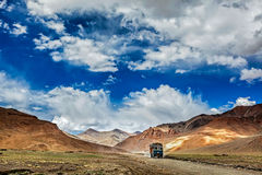 Indian lorry on Trans-Himalayan Manali-Leh highway in Himalayas. Royalty Free Stock Images