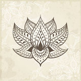 Indian Lotus. Arabic and Jewish amulet Royalty Free Stock Image