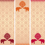 Indian lotus and elephant vertical banners Royalty Free Stock Photography
