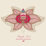 Indian lotus magic card. Greeting card with a decorative flower in Indian style Stock Photography
