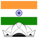 Indian Lotus temple and flag Royalty Free Stock Photos